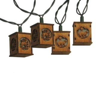 10-Light Bear & Deer Wooden Lantern String Lights