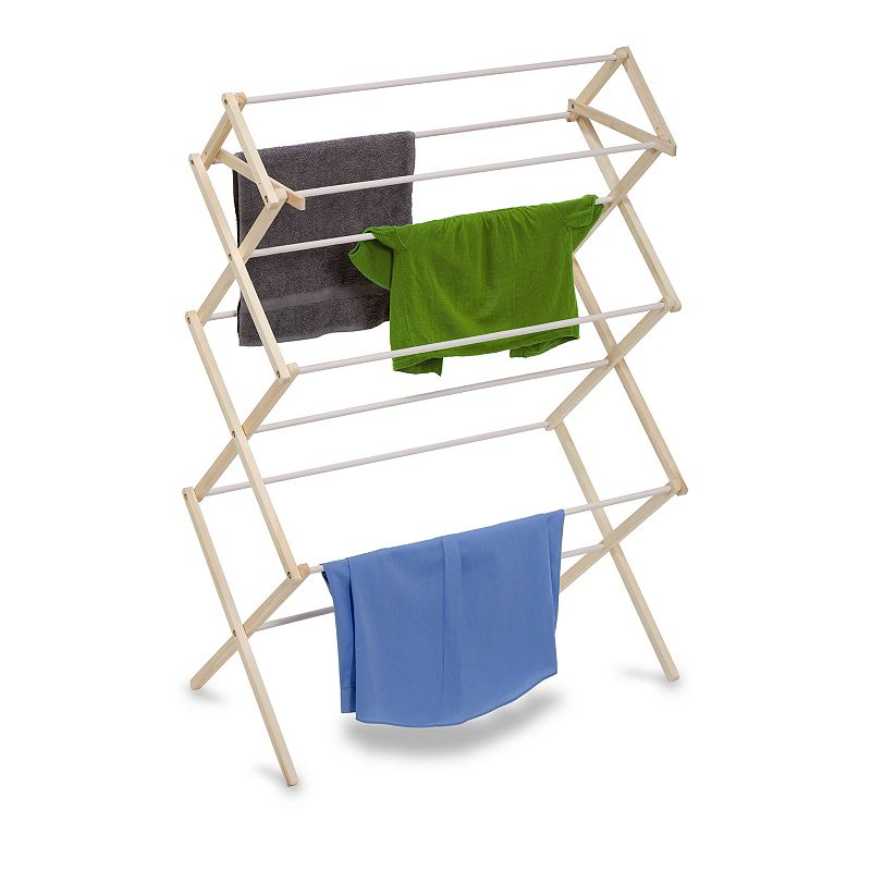 Honey-Can-Do Large Knockdown Drying Rack, Adult Unisex, Size: DRY RACK, Beig/Green Help keep your energy costs down with this Honey-Can-Do 29 linear feet large wood knockdown drying rack. FEATURES 51''H x 36''W x 19''D Coated rods prevent snagging Top shelf great for air drying sweaters Portable Folds down to 2 inches for storage CONSTRUCTION & CARE Wood Manufacturer's limited lifetime warrantyFor warranty information please click here  Size: DRY RACK. Color: Beig/Khaki. Gender: unisex. Age Group: adult.