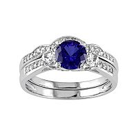 Lab-Created Blue & White Sapphire & 1/8 Carat T.W. Diamond 10k White Gold 3-Stone Engagement Ring Set