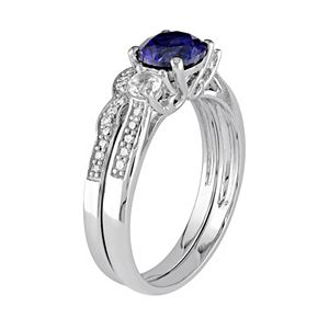 Stella Grace Lab-Created Blue & White Sapphire & 1/8 Carat T.W. Diamond 10k White Gold 3-Stone Engagement Ring Set