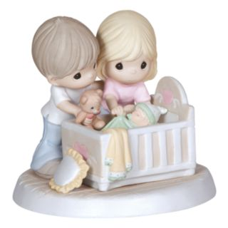 Precious Moments ''We're Glad'' Parents With Baby In Crib Figurine