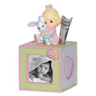 Precious Moments Baby Girl Photo Cube Bank