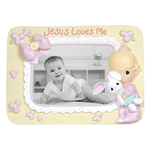 Precious Moments Jesus Loves Me Girl With Bunny Photo Frame