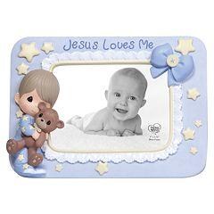 Precious Moments ''Jesus Loves Me'' Boy With Teddy Bear Photo Frame