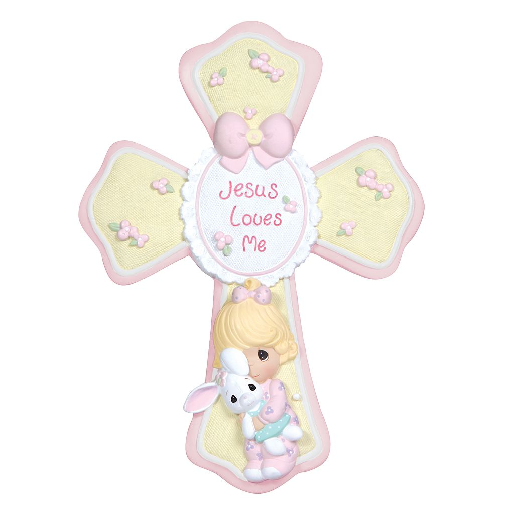 Precious Moments ''Jesus Loves Me'' Girl With Bunny Cross
