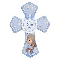 Precious Moments ''Jesus Loves Me'' Boy With Teddy Bear Cross Figurine