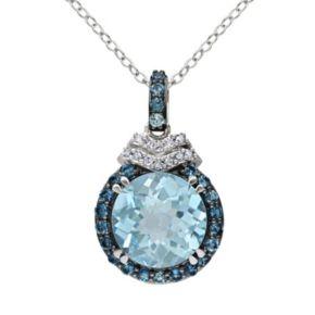 Sky Blue Topaz, London Blue Topaz & Diamond Accent Sterling Silver Halo Pendant Necklace