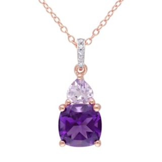 Stella Grace Amethyst, Rose de France Amethyst & Diamond Accent Sterling Silver Heart Pendant Necklace