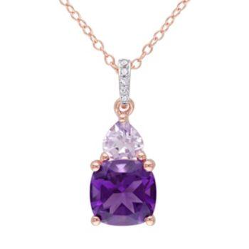Stella Grace Amethyst, Rose de France Amethyst & Diamond Accent Sterling Silver Heart Pendant Necklace