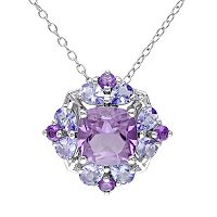 Amethyst & Tanzanite Sterling Silver Flower Pendant Necklace