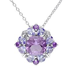 Stella Grace Amethyst & Tanzanite Sterling Silver Flower Pendant Necklace