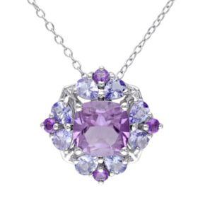 Stella Grace Amethyst & Tanzanite Sterling Silver Flower Pendant Necklace