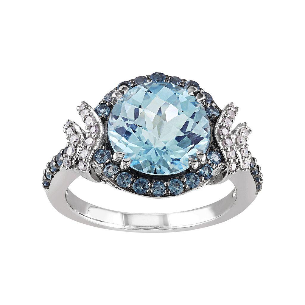 Sky Blue Topaz, London Blue Topaz & 1/8 Carat T.W. Diamond Sterling Silver Halo Ring