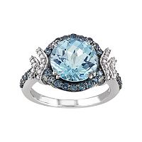 Sky Blue Topaz, London Blue Topaz & 1/8 Carat T.W. Diamond Sterling Silver Halo Ring