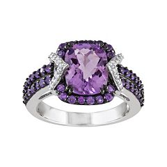 Amethyst, African Amethyst & 1/10 Carat T.W. Diamond Sterling Silver Halo Ring
