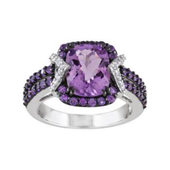 Stella Grace Amethyst, African Amethyst & 1/10 Carat T.W. Diamond Sterling Silver Halo Ring