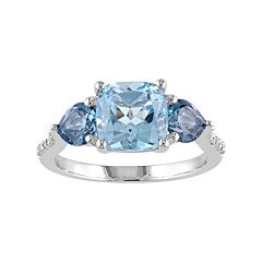 Stella Grace Sky Blue Topaz, London Blue Topaz & Diamond Accent Sterling Silver 3-Stone Ring