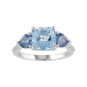 Stella Grace Sky Blue Topaz, London Blue Topaz & Diamond Accent Sterling Silver 3-Stone Ring