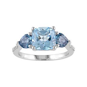 Sky Blue Topaz, London Blue Topaz & Diamond Accent Sterling Silver 3-Stone Ring