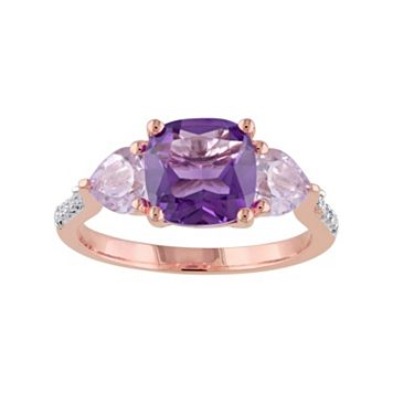 African Amethyst, Rose de France Amethyst & Diamond Accent Sterling Silver 3-Stone Ring