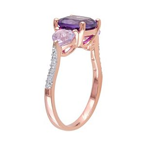 Stella Grace African Amethyst, Rose de France Amethyst & Diamond Accent Sterling Silver 3-Stone Ring