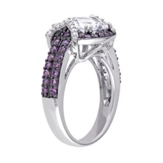 Lab-Created White Sapphire, Amethyst & 1/10 Carat T.W. Diamond Sterling Silver Halo Ring