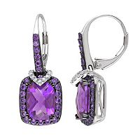 Amethyst, African Amethyst & 1/10 Carat T.W. Diamond Sterling Silver Halo Drop Earrings