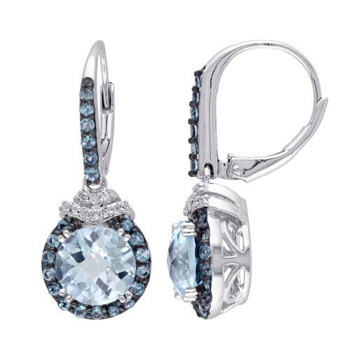 Stella Grace Sky Blue Topaz, London Blue Topaz & 1/10 Carat T.W. Diamond Sterling Silver Halo Drop Earrings