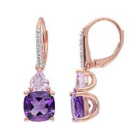 Amethyst, Rose de France Amethyst & Diamond Accent Sterling Silver Heart Drop Earrings