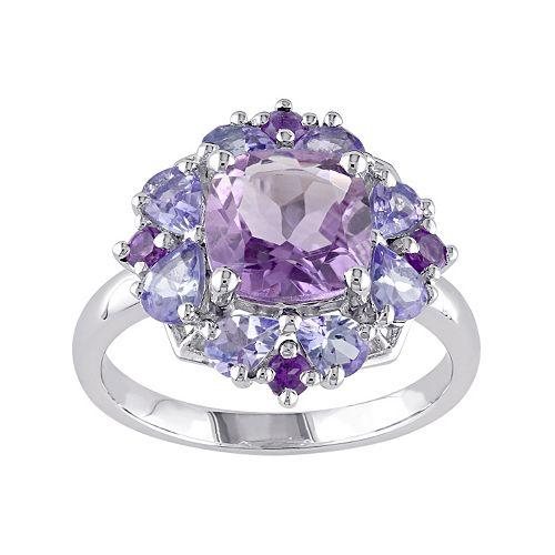 Stella Grace Amethyst & Tanzanite Sterling Silver Flower Ring