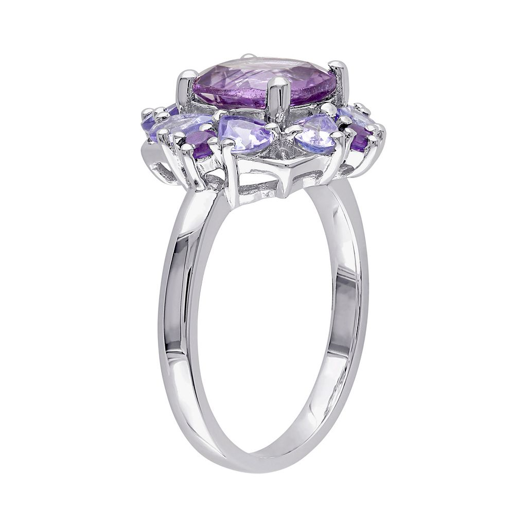 Amethyst & Tanzanite Sterling Silver Flower Ring