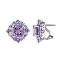 Stella Grace Amethyst & Tanzanite Sterling Silver Flower Button Stud Earrings
