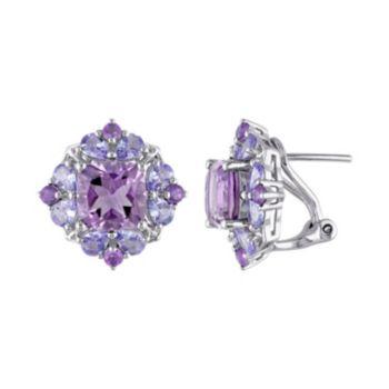 Stella Grace Amethyst & Tanzanite Sterling Silver Flower Button Stud Earrings