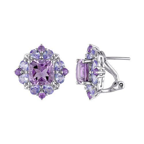 Amethyst & Tanzanite Sterling Silver Flower Button Stud Earrings