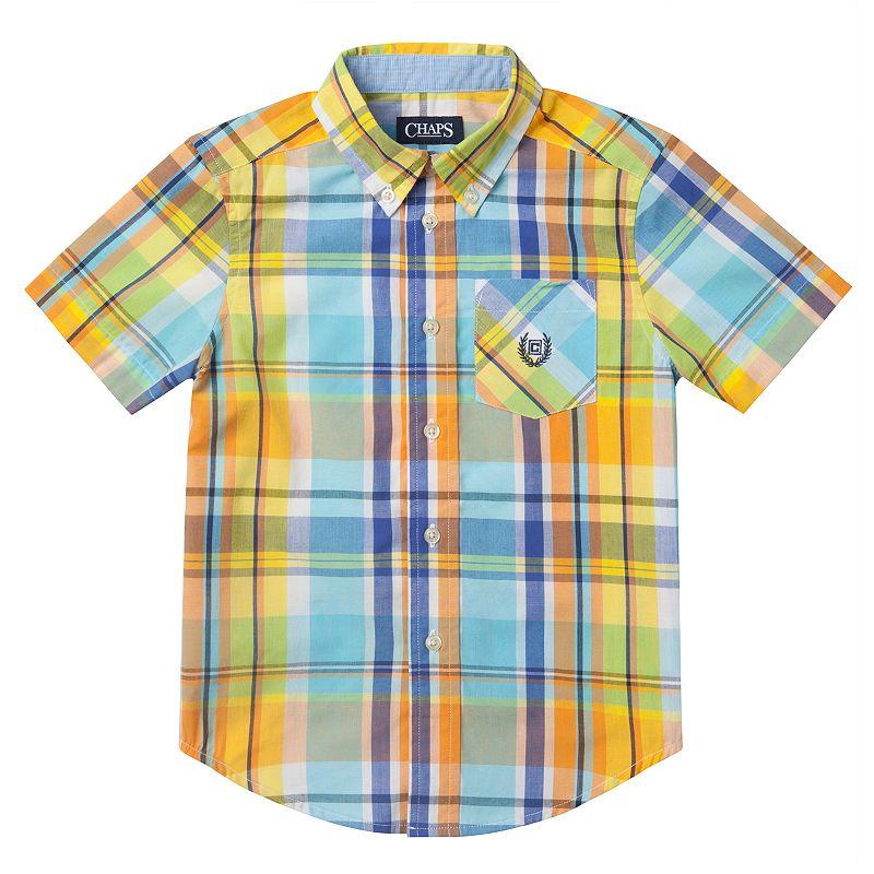 Toddler Boy Chaps Bright Plaid Button-Down Shirt