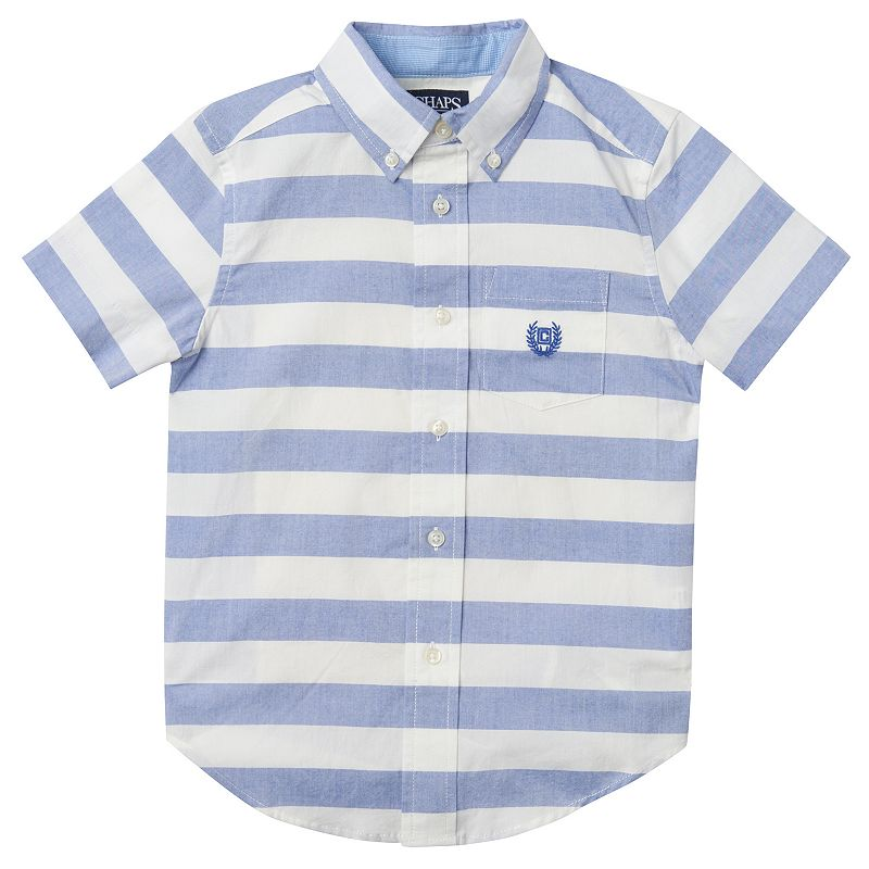 Toddler Boy Chaps Blue & White Striped Button-Down Shirt