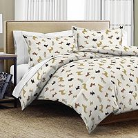 Pointehaven Winter Dogs Flannel Duvet Cover Set