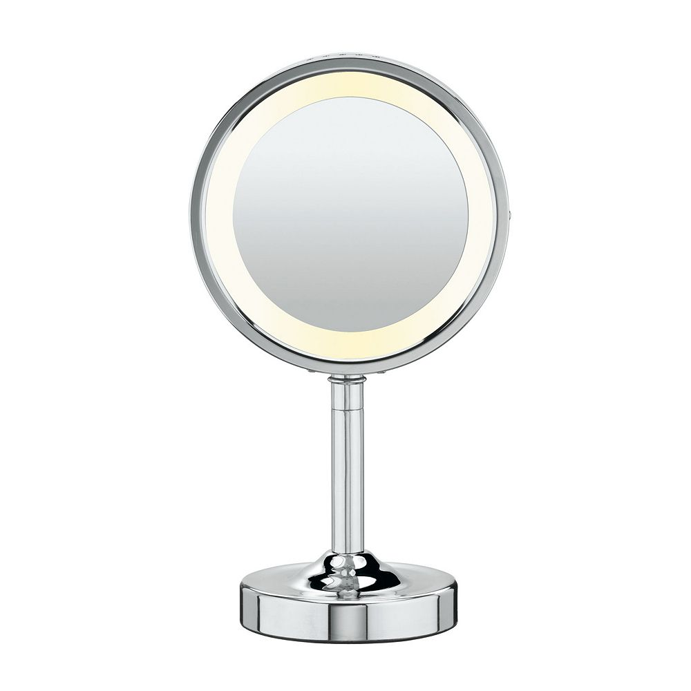 Double sided lighted round vanity mirror conair double sided lighted round vanity mirror amipublicfo Images