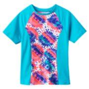 adidas Tie-Dye Floral Colorblock Rashguard - Girls