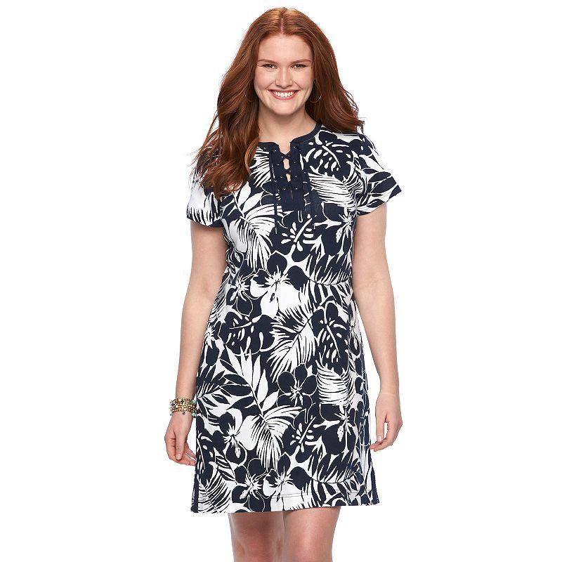 Plus Size Chaps Printed Lace-Up T-Shirt Dress
