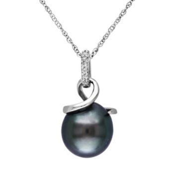 Stella Grace 10k White Gold Tahitian Cultured Pearl & Diamond Accent Swirl Pendant Necklace