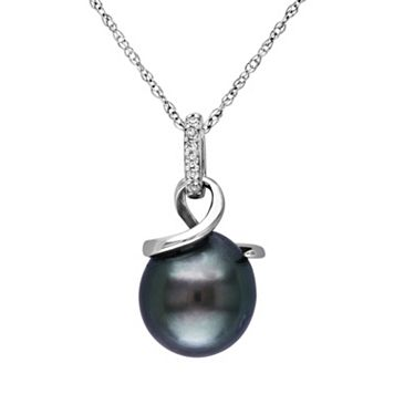 10k White Gold Tahitian Cultured Pearl & Diamond Accent Swirl Pendant Necklace
