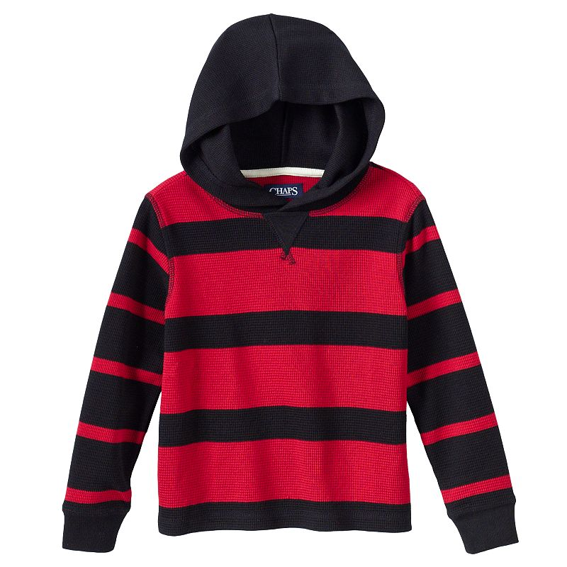 Toddler Boy Chaps Thermal Striped Hoodie