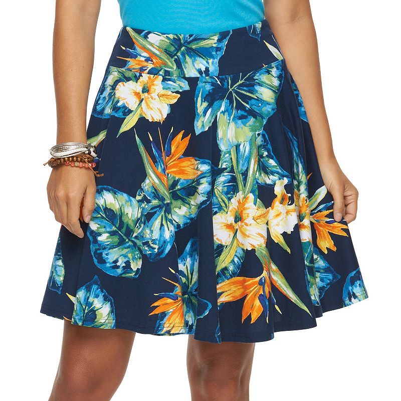 Petite Chaps Tropical A-Line Skirt
