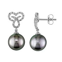 10k White Gold Tahitian Cultured Pearl & 1/6 Carat T.W. Diamond Heart & Ichthys Fish Drop Earrings