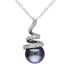 Stella Grace Sterling Silver Tahitian Cultured Pearl & 1/10 Carat T.W. Diamond Swirl Pendant Necklace