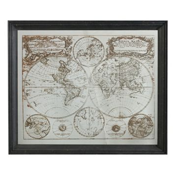 Mirrored Vintage Map Wall Art