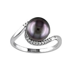 Stella Grace Sterling Silver Tahitian Cultured Pearl & 1/10 Carat T.W. Diamond Bypass Ring