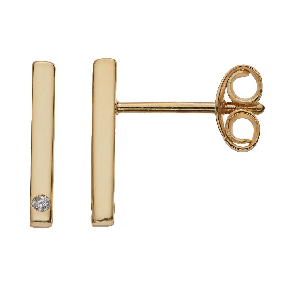 14k Gold Diamond Accent Bar Stud Earrings