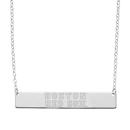 Boston Red Sox Sterling Silver Bar Necklace